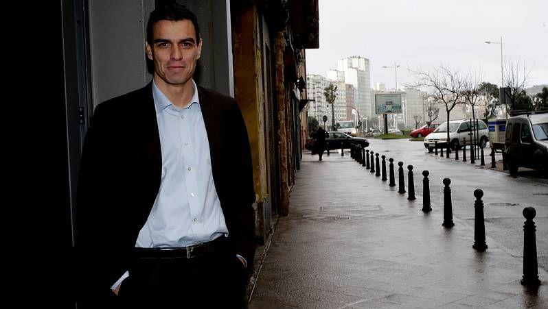 .Pedro Sánchez en su reciente visita a A Coruña, el 27 de Enero de 2014