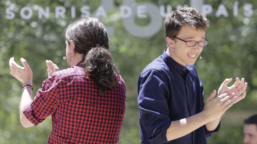 Pablo Iglesias explica el resultado de Unidos Podemos.Iglesias y Errejón en un acto de campaña.