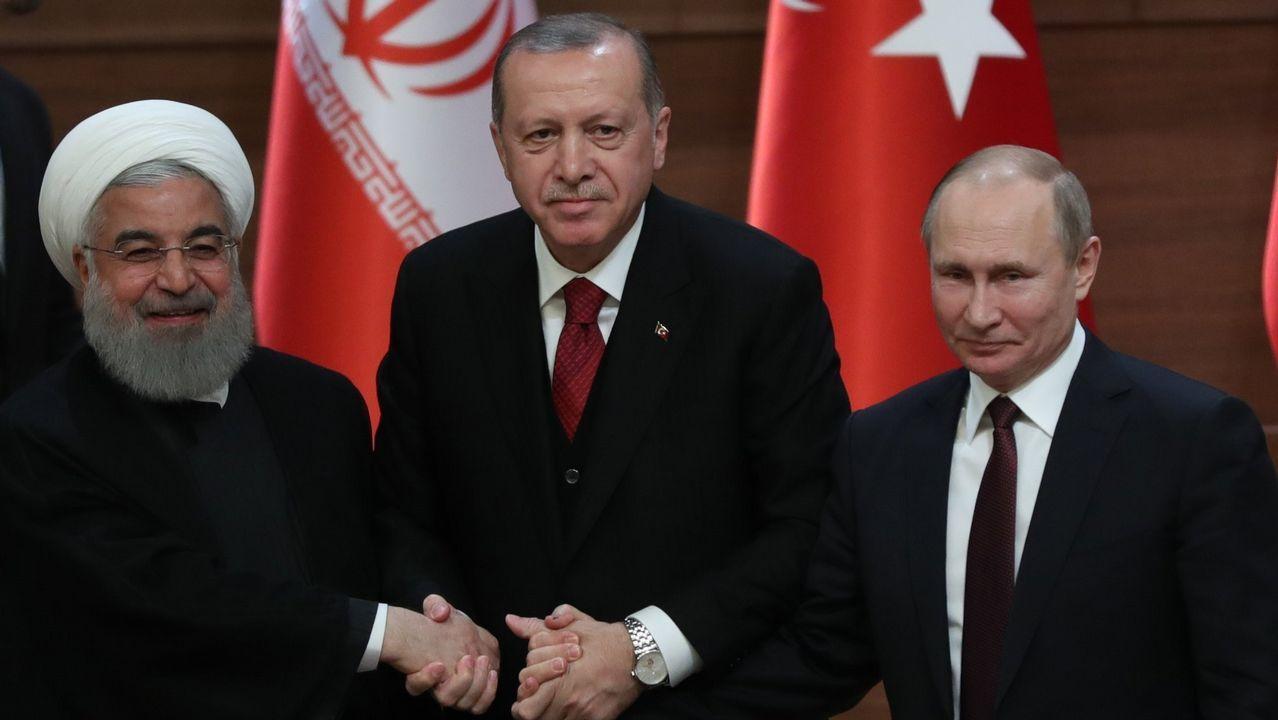 El antes y el después de los tres objetivos del ataque aliado sobre Siria.Rohaní, Erdogan y Putin se reunieron en la capital turca para tratar el conflicto sirio