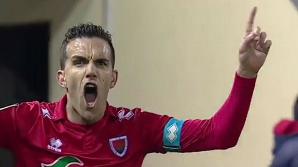 .Julio Álvarez celebra un gol con el Numancia