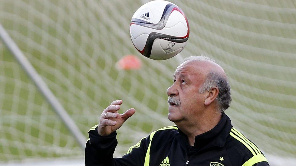 .El entrenador de España, Vicente del Bosque, juega con un balón durante el entrenamiento que la selección española de fútbol ha realizado esta tarde en el estadio Sánchez Pizjuán de Sevilla