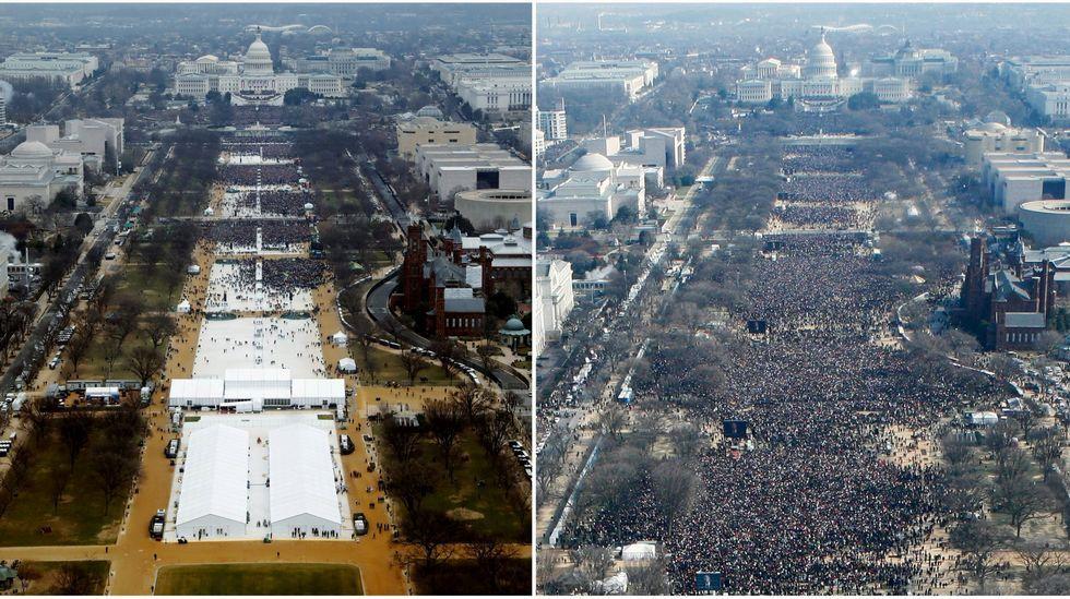 Imagen comparativa de la National Mall (Explanada Nacional) de Washington en las investiduras de los presidentes Donald Trump (izquierda) y Barack Obama en el 2009 (derecha)