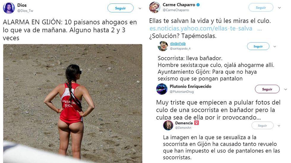 El helimer de Salvamento Marítimo de Gijón.La polémica por el vestuario de las socorristas de Gijón invade las redes