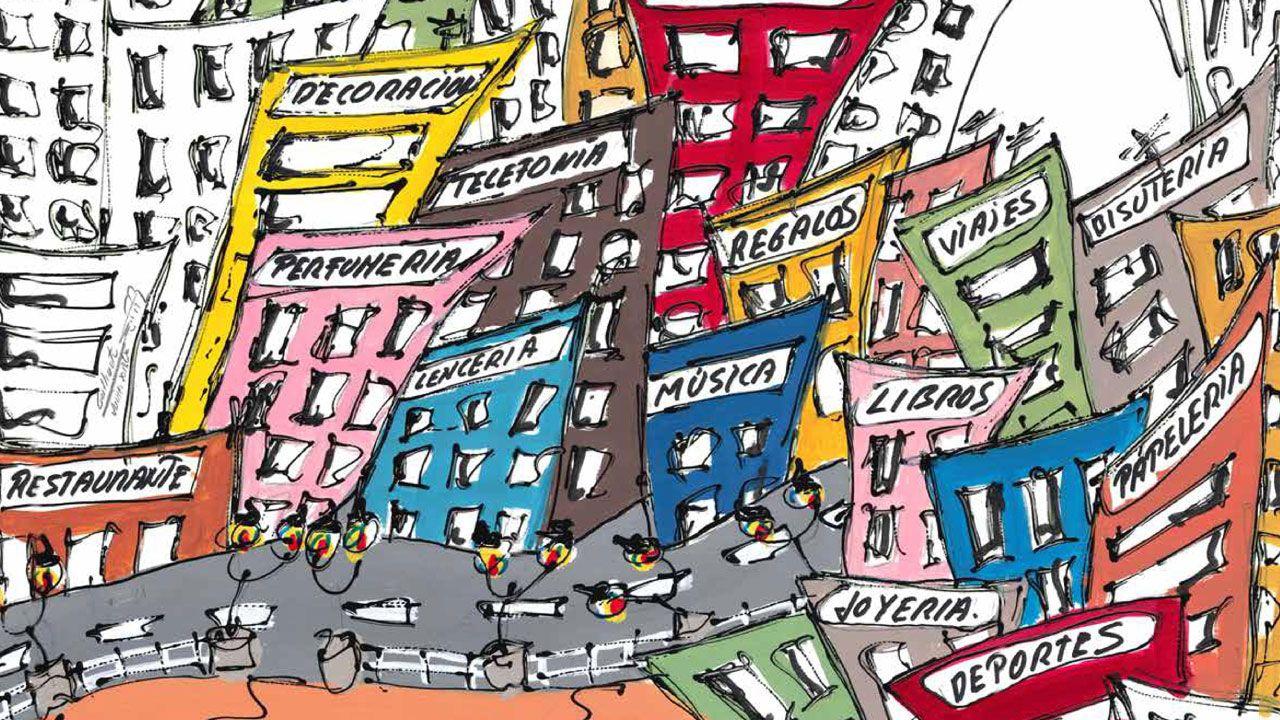 Un fragmento del cartel anunciador del 37 Concurso de Escaparates de Gijón, obra de Javier Gallinota