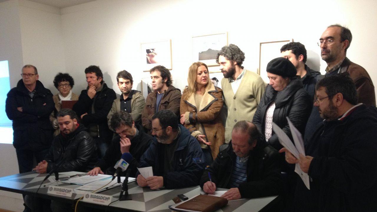 Presentación de Ferrol en Común, en marzo del 2015. En la imagen, Saínza Ruiz, Esther Leira, Jorge Suárez, Carlos del Río y Álvaro Montes