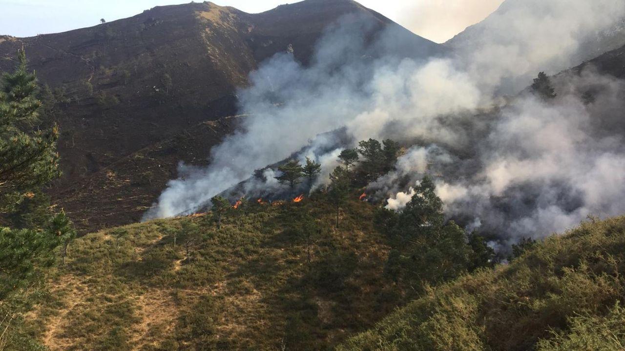 La crudeza del fuego asturiano en imágenes.Incendio forestal en Parres