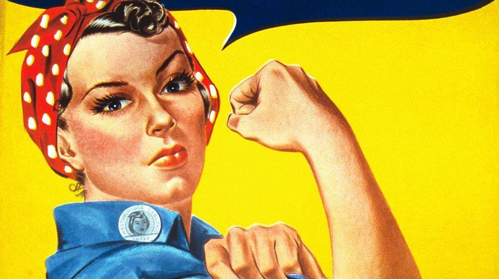 La fortaleza física en la mujer es el tema de este cartel original de J. Howard Miller, uno de los pintados en 1943 para Westinghouse Electric con idea de levantar la moral de sus trabajadoras en plena guerra mundial