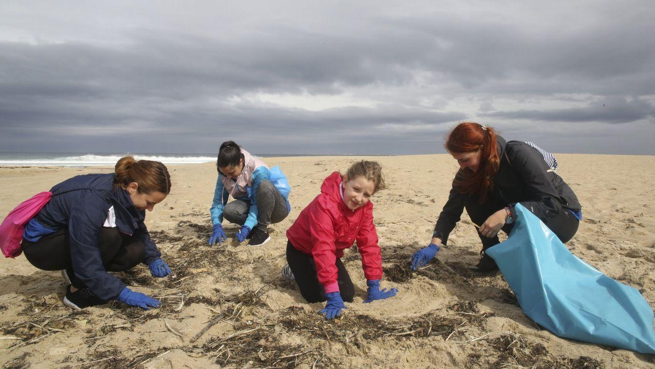 .Limpieza de la playa de Razo