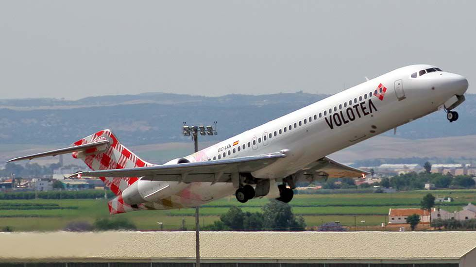 .Un avión de la aerolínea Volotea