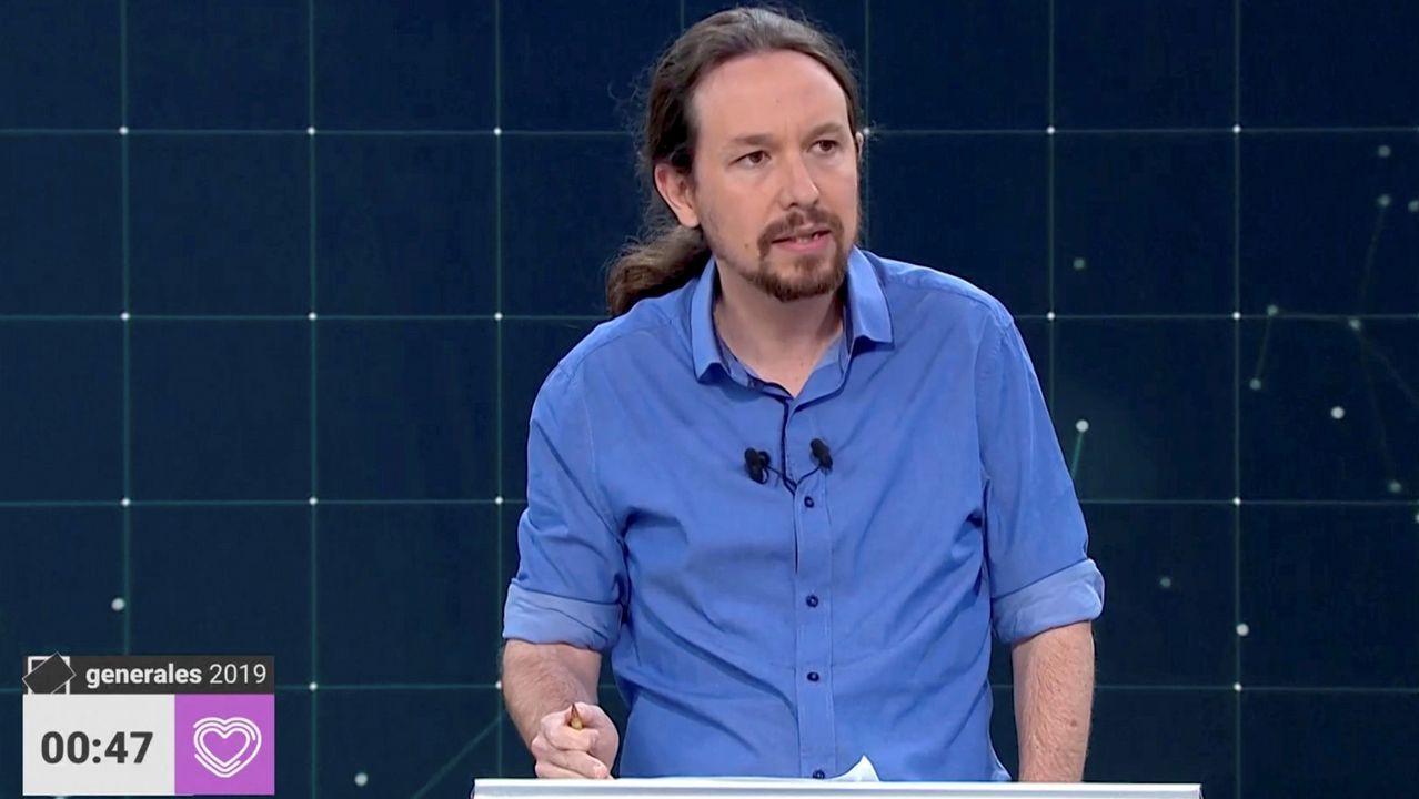 Pablo Iglesias, durante el debate de TVE