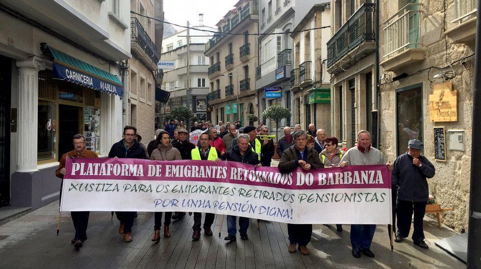 Concentración de emigrantes retornados.Imagen de archivo de una protesta en Vigo