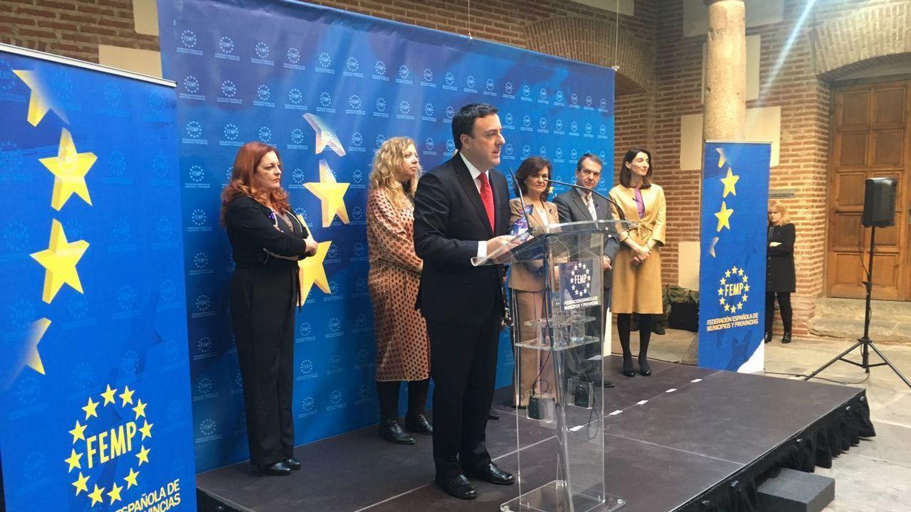 El presidente de la Diputación de A Coruña agradeció el premio, en presencia de Carmen Calvo y Abel Caballero