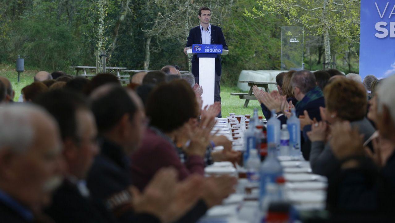 Mitin del presidente del PP, Pablo Casado, en la romería popular de Nemenzo, el pasado 14 de abril