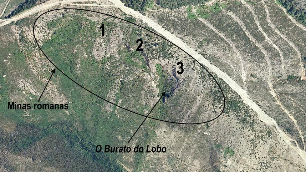En esta ortofotografía se indica la situación de la mina del Burato do Lobo —señalada con el número 3— y de otras dos antiguas explotaciones ubicadas en su entorno inmediato