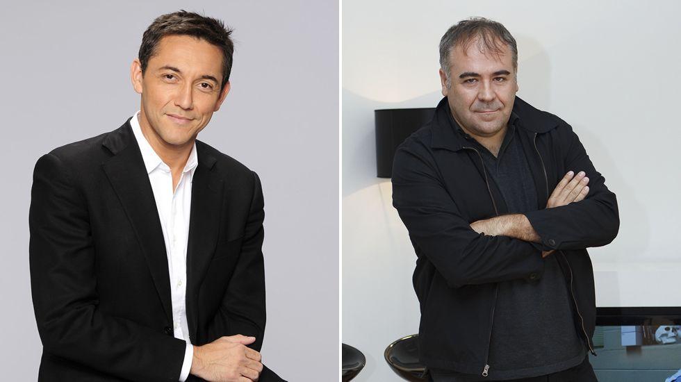 Pedro Sánchez y Besteiro, en una imagen del pasado jueves, durante la visita del secretario general del PSOE a A Coruña.
