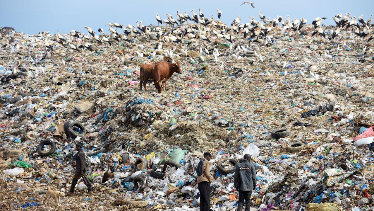 Varios refugiados de Ghana y Guinea buscan comida en un basurero de Marruecos.