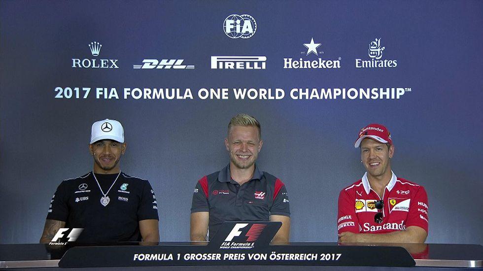 Fernando Alonso.Lewis Hamilton, Kevin Magnussen y Sebastian Vettel en la rueda de prensa del Gran Premio de Austria.