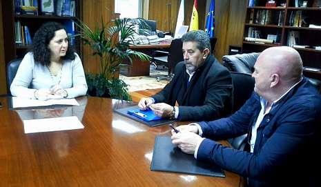 Do Campo, con Rocha y Pichel durante la reunión de ayer.