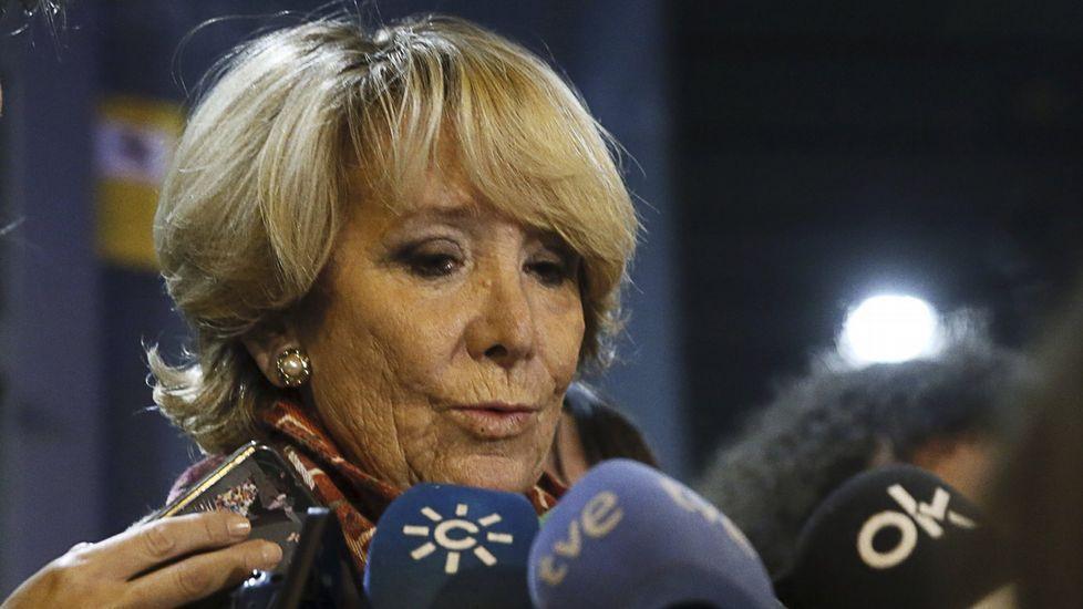 Las lágrimas de Esperanza Aguirre.Imagen del monitor de la sala de prensa de la Audiencia  Nacional durante la declaración de Rosalía Iglesias, esposa de Bárcenas