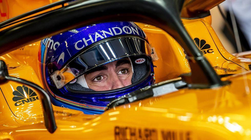 .Fernando Alonso, en la clasificación en Bakú