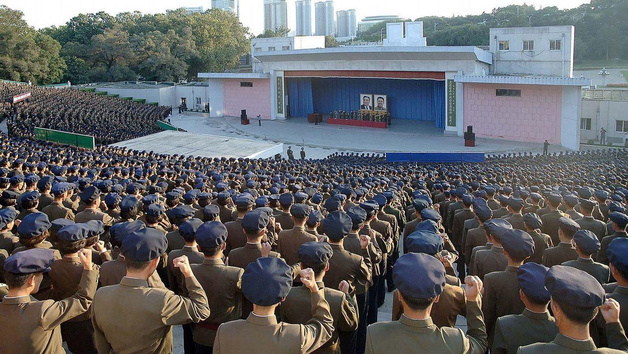 Manifestacio´n antiamericana en Piongyang