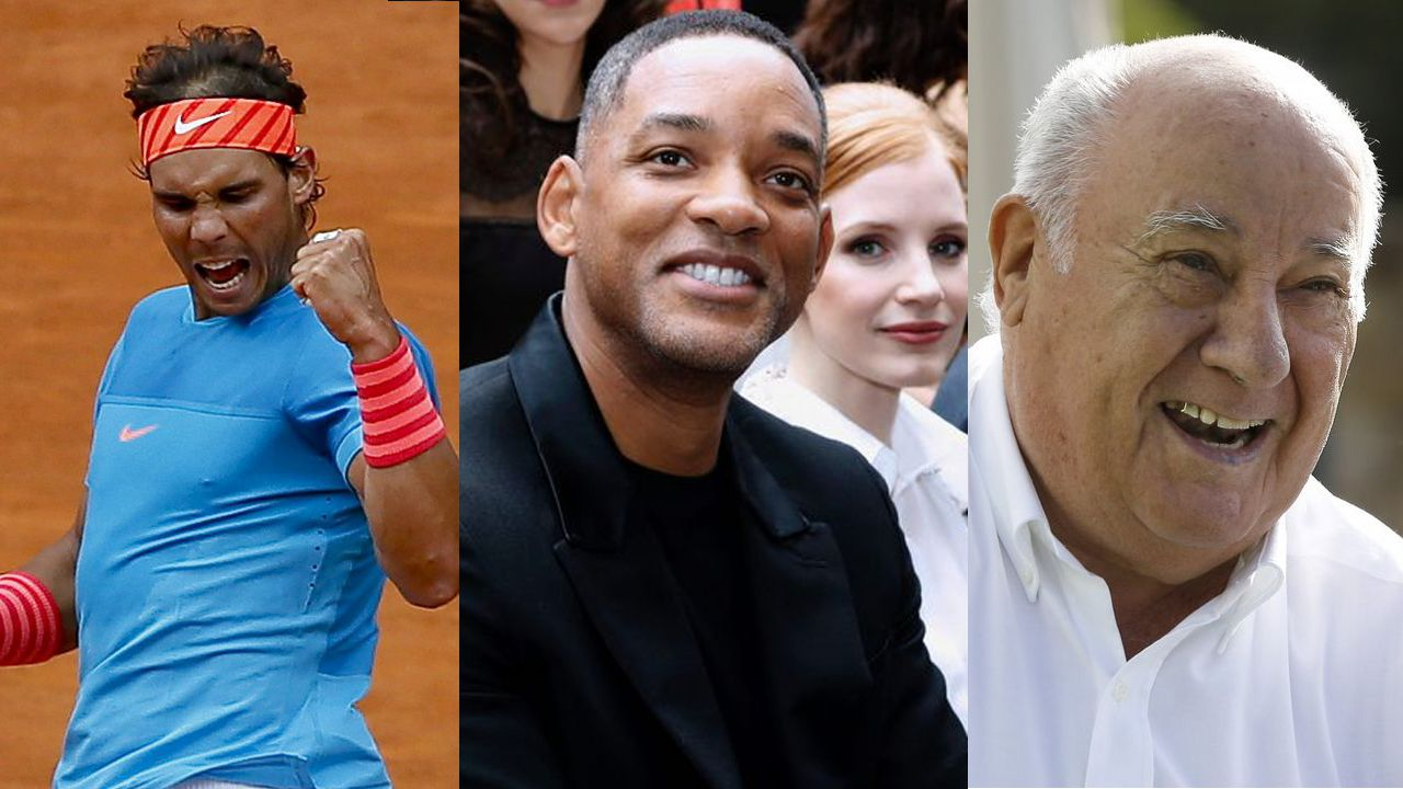 Rafa Nadal, Will Smith y Amancio Ortega