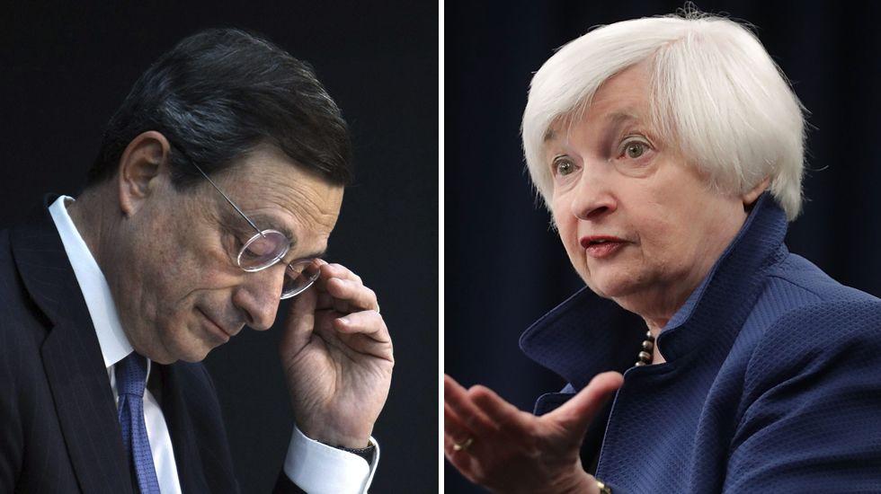 La brecha entre las políticas monetarias de Draghi y Yellen se ensancha