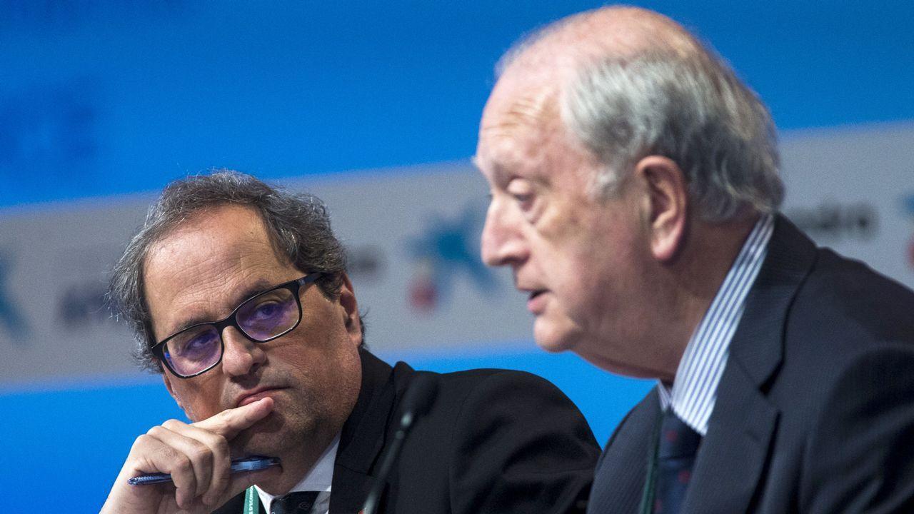 .Torra junto al presidente del Círculo de Economía, Juan José Bruguera, este jueves en Sitges