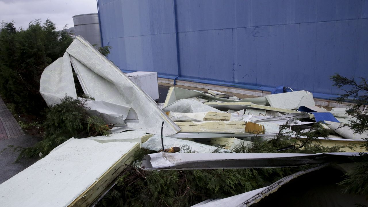 Restos del tejado de la fábrica en Arteixo, enfrente de Pescanova