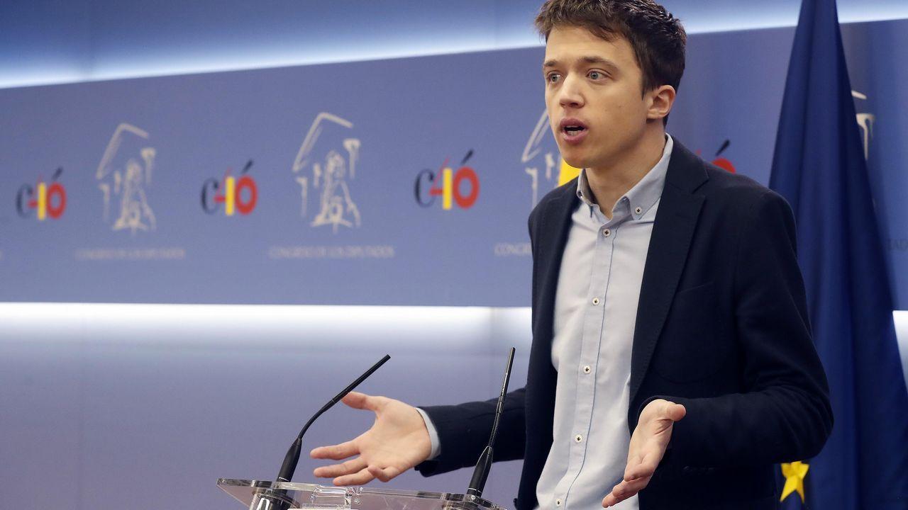 Íñigo Errejón, hoy, durante la rueda de prensa en la que anunció que deja el escaño de Podemos en el Congreso