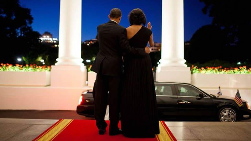 Despedida del presidente israelí Simon Peres tras una velada en la Casa Blanca