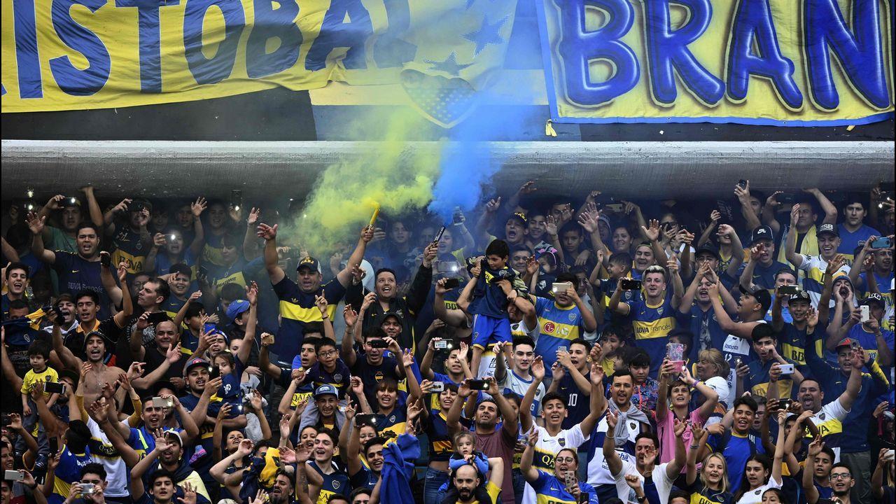La Bombonera llena durante el último entrenamiento de Boca Juniors antes del partido de vuelta