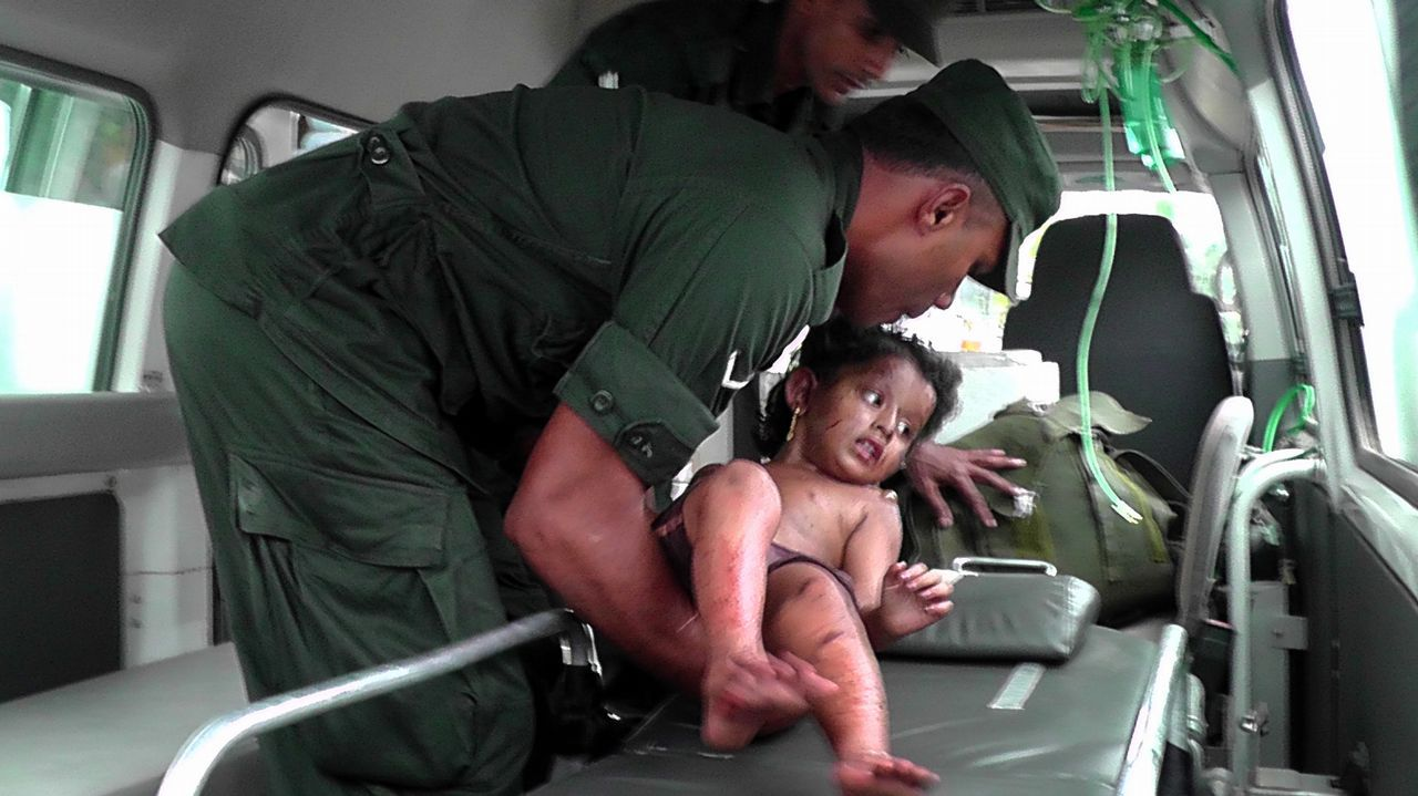 Un niño herido en la redada en Sainthamarudu fue trasladado al hospital