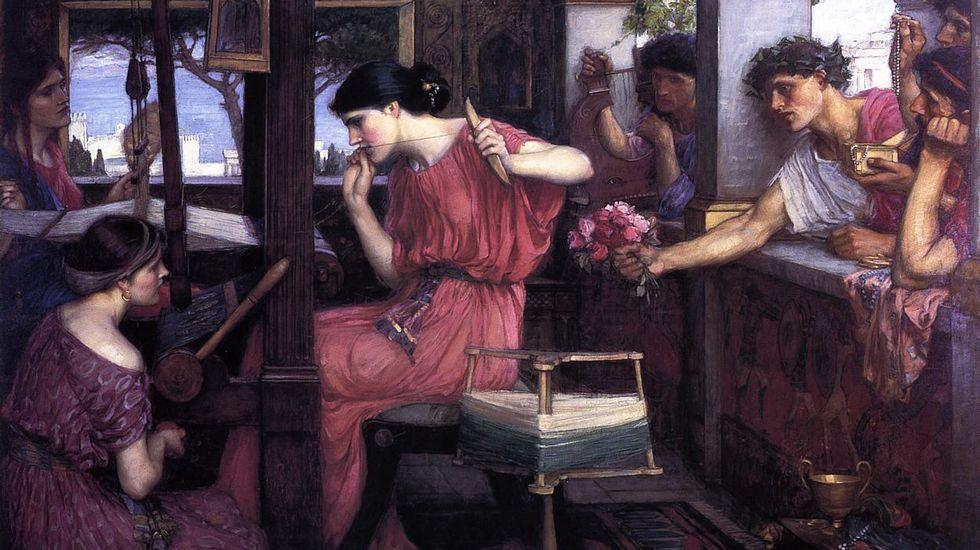 «Penélope e os seus pretendentes», de Waterhouse. O personaxe de Homero simboliza a construción, aínda inacabada, da Europa unida