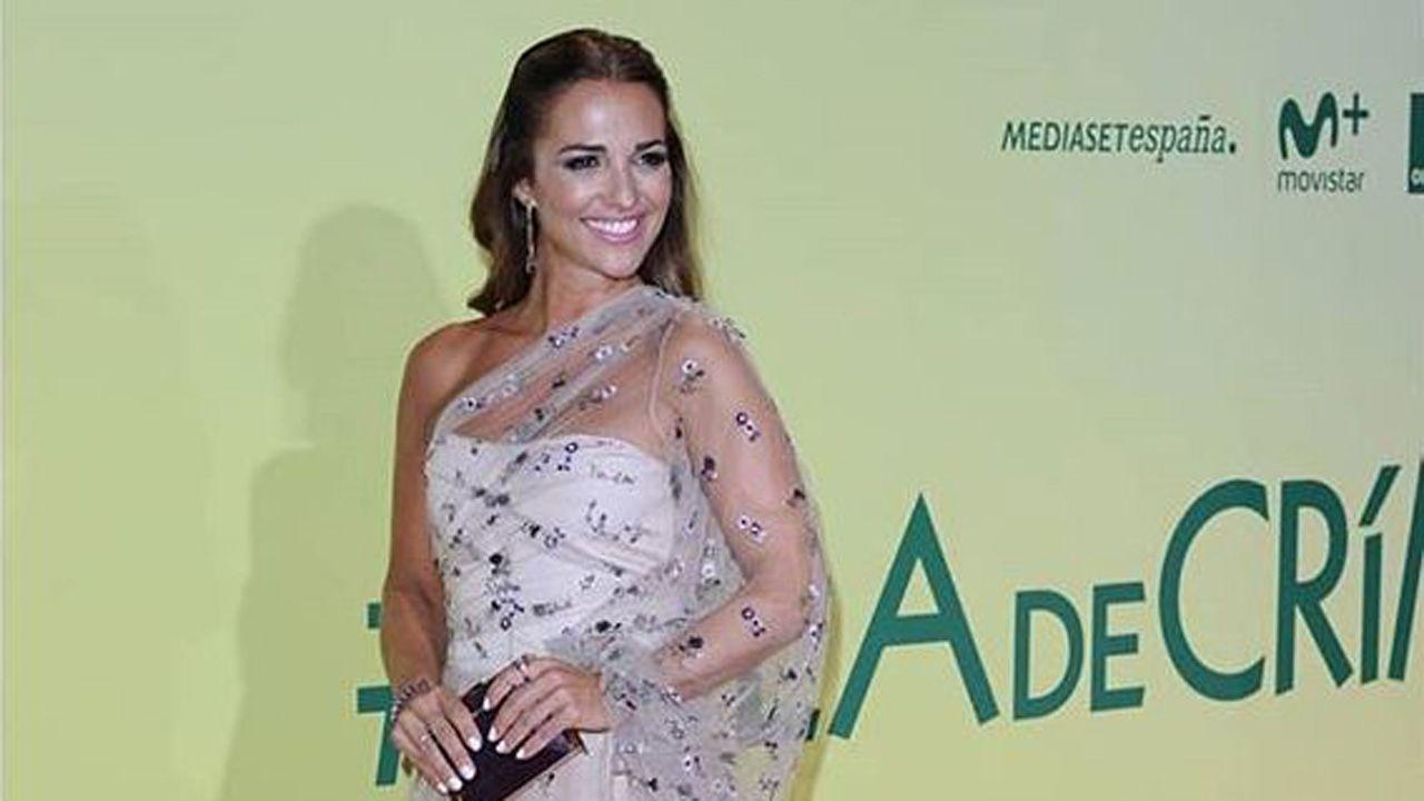 Real Oviedo Albacete Hidi Carlos Tartiere.La actriz asturiana Paula Echevarría durante la presentación de Ola de crímenes