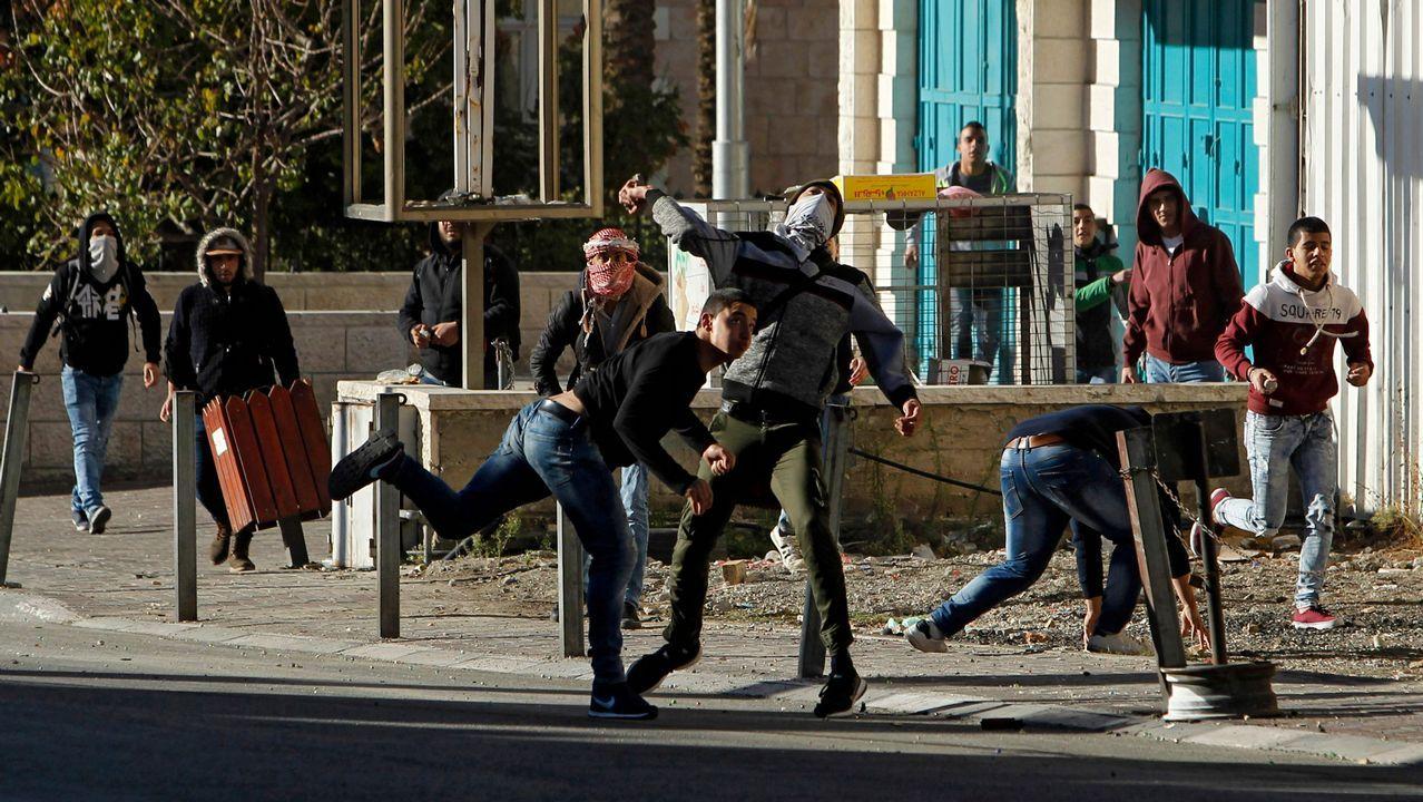 .Manifestantes palestinos en Belén