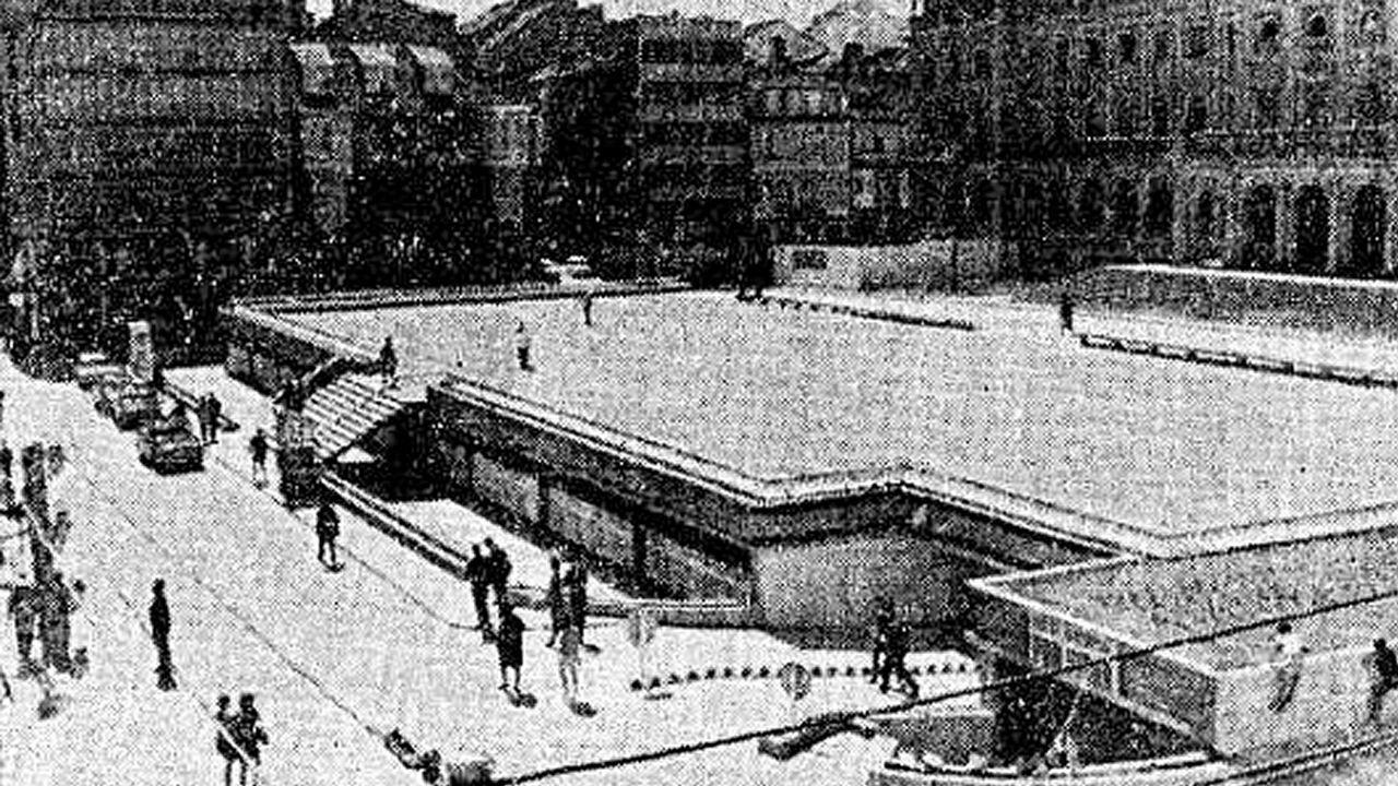Julio de 1968. La imagen corresponde a la jornada inaugural del párking, construido en el mandato de Rogelio Cenalmor, y cuya tarifa era de 6 pesetas hora.