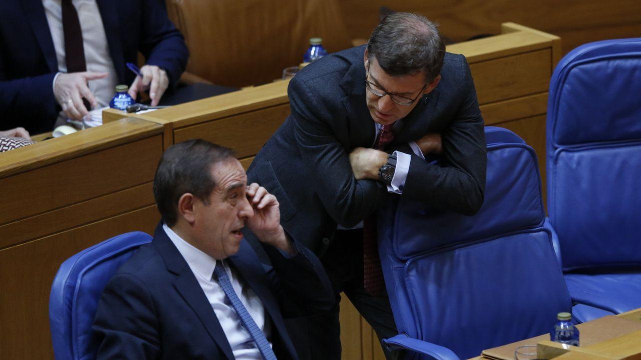 EFE.Feijoo y el conselleiro de Facenda, Valeriano Martínez, en el Parlamento en una foto de archivo