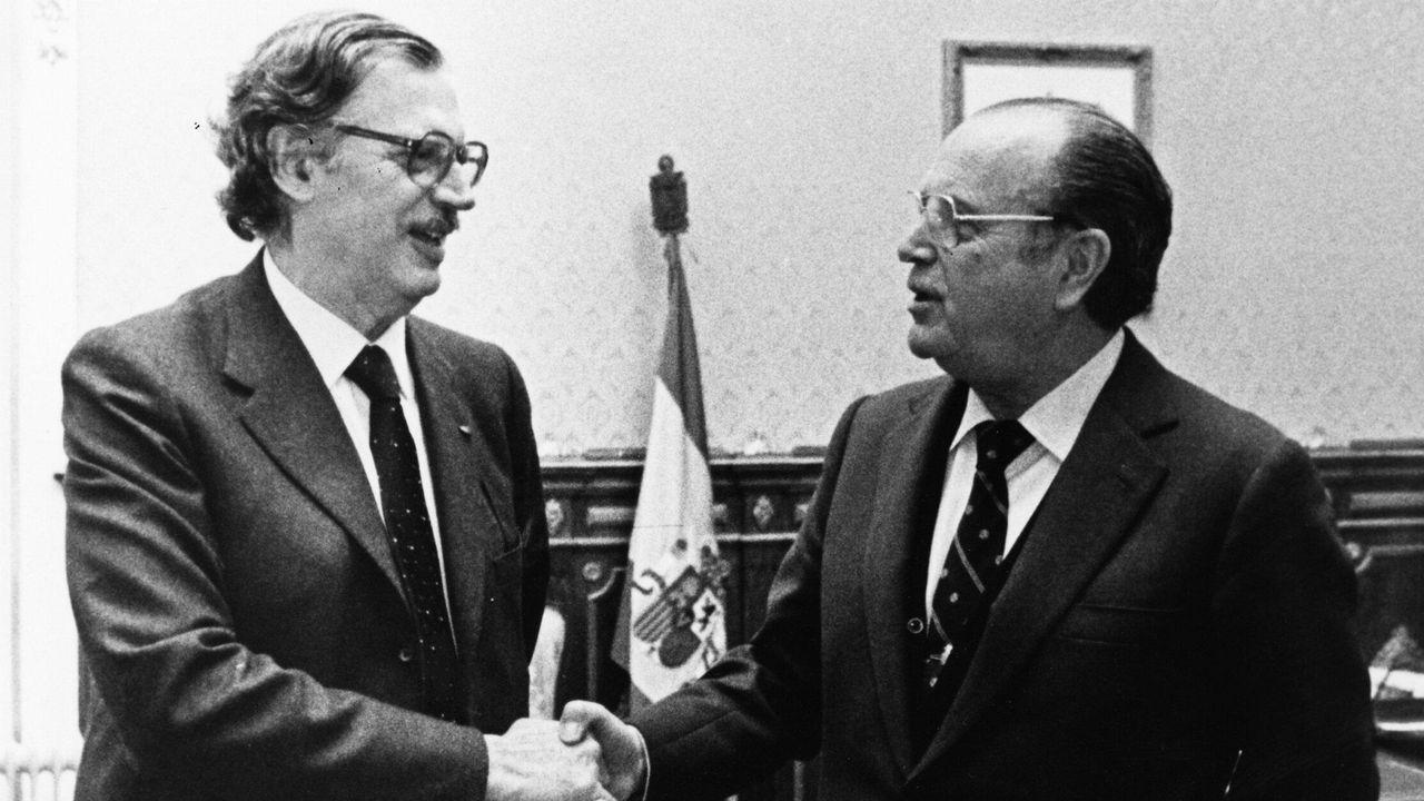 .Trías Fargas, conseller de Economía de la Generalitat de Cataluña, y Fernandez Albor, presidente de la Xunta de Galicia