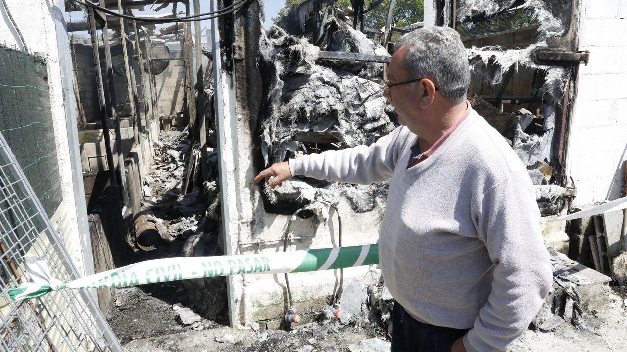 Incendio en una granja de perdices en Sistallo Cospeito, José Sanjurjo propietario del criadero explica cómo se percató del suceso sobre las cuatro de la madrugada.