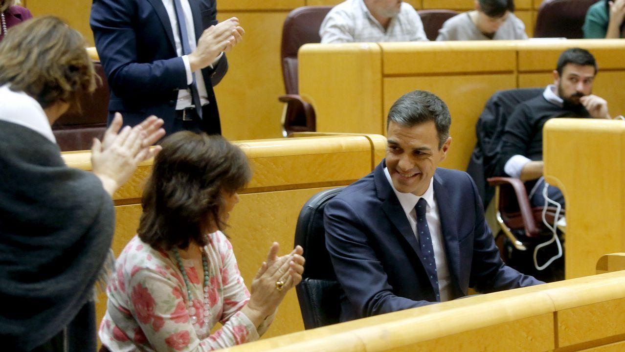 PP, Ciudadanos y Vox, juntos enuna manifestación este domingo en Madrid.Pedro Sánchez, aplaudido por Carmen Calvo tras intervenir en el Senado, respondió a quienes exigen la ilegalización de fuerzas secesionistas que «los problemas se solucionan, no se prohíben»