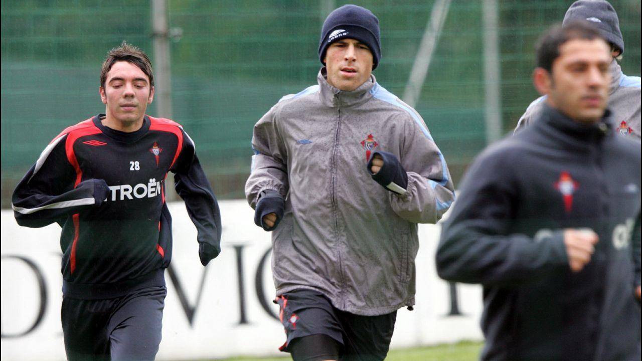 Aspas, en un entrenamiento con el primer equipo esa temporada