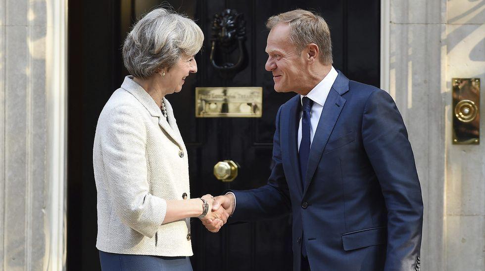 La primera ministra británica, Theresa May y el presidente del Consejo Europeo, Donald Tusk