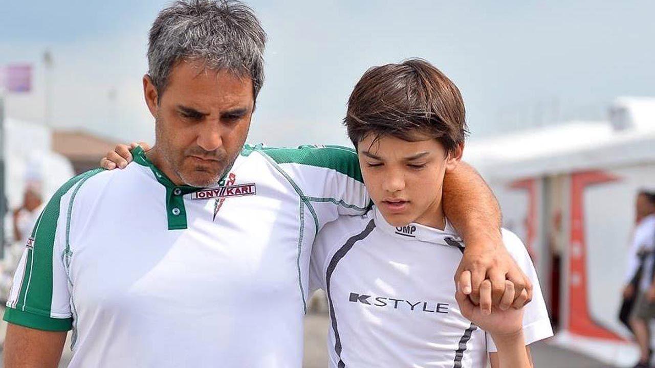 Juan Pablo Montoya con su hijo