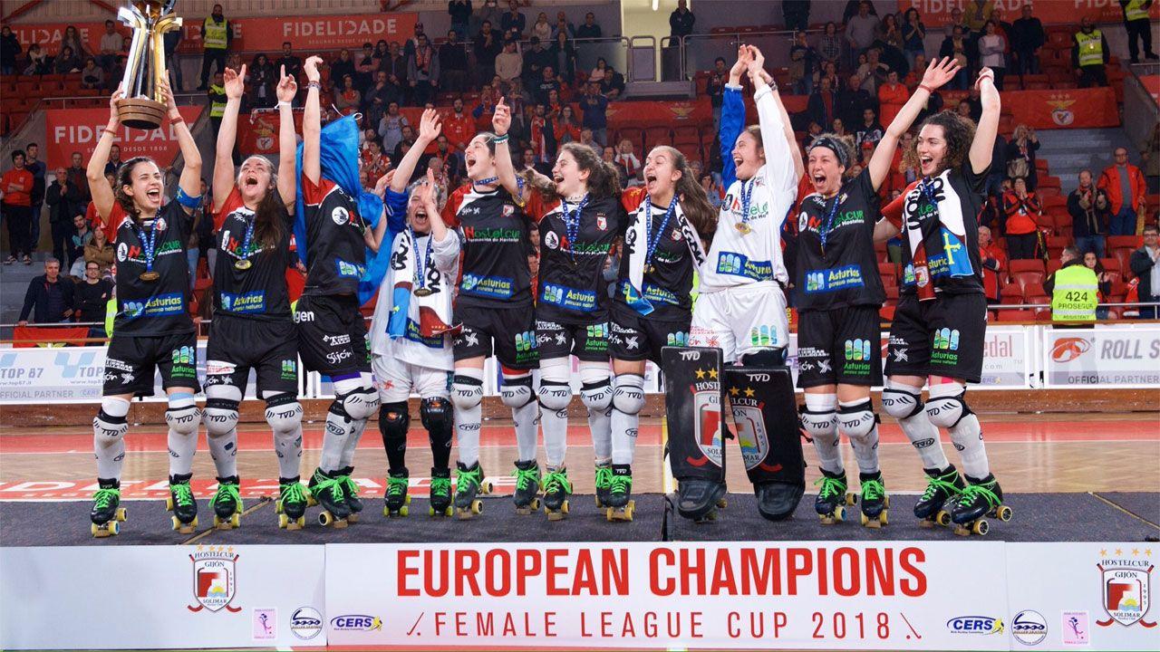 .Hostelcur Gijón, pentacampeonas de Europa, celebran su quinta Copa de Europa