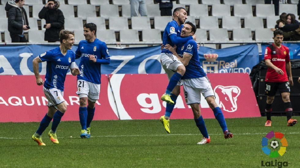 Toché celebra su gol frente al Mallorca