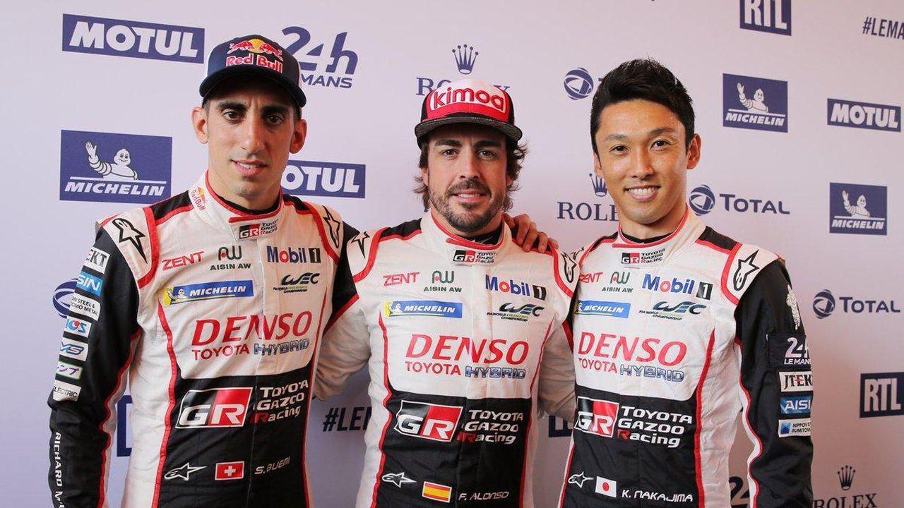 Obras en la variante de Pajares.Alonso, Buemi y Nakajima