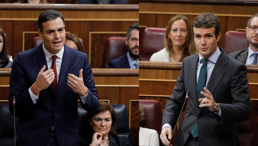 El PP de Casado escenifica una nueva etapa en la que quiere rearmarse en lo ideológico.Casado y Rivera, en un acto en Cádiz sobre la Constitución, el pasado septiembre