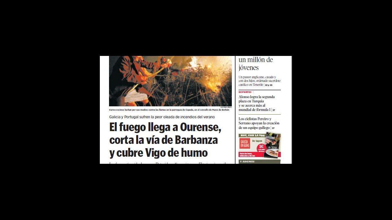 Así quedó la avenida de Europa de Vigo tras la oleada de fuegos.Imagen del artefacto incendiario hallado en Salceda de Caselas tras la oleada de incendios que sufrió Galicia en octubre de 2017. Constaba de seis globos de helio y una bengala