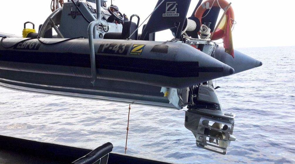 .Foto detalle de las hélices protegidas de las embarcaciones del patrullero RELÁMPAGO P43